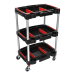 "Luxor Furniture MC-3 32"" 3 Level Mechanics Cart w/ 132 lb Capacity - Aluminum/Plastic, Black"