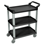 Luxor Furniture SC12-B 3 Level Polymer Utility Cart w/ 200 lb Capacity, Raised Ledges