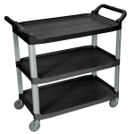 Luxor Furniture SC13-B 3-Level Polymer Utility Cart w/ 300-lb Capacity, Raised Ledges