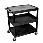 Luxor Furniture TC212-B 3-Level Polymer Utility Cart w/ 400-lb Capacity - Raised Ledges, Black