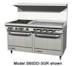 """Southbend S60AD-4TL 60"""" 2 Burner Gas Range with Griddle, NG"""