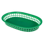 "Update BB107G Oval Fast Food Basket - 10 1/2x7x1 1/2"" Plastic, Green"