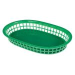"""Update BB107G Oval Fast Food Basket - 10-1/2x7x1-1/2"""" Plastic, Green"""