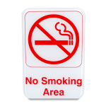 "Update S69-12RD No Smoking Area"" Sign - 6x9"" Red on White"