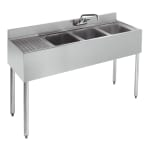 "Krowne 18-43R 48"" 3-Compartment Sink w/ 10""W x 14""L Bowl, 10"" Deep"