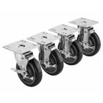 "Krowne 28-107S 4 Piece Universal Plate Caster Set w/ 5"" Wheel, 4 x 4"""