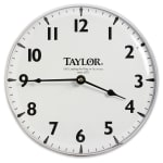 "Taylor 166 Patio Clock w/ Silk Screen Graphics, 12 15/16"", Brushed Silver"