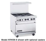 "American Range ARW36-12G-4B 36"" 4 Burner Gas Range with Griddle, LP"