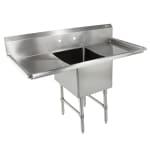 """John Boos 1B184-2D18 57"""" 1 Compartment Sink w/ 18""""L x 18""""W Bowl, 14"""" Deep"""
