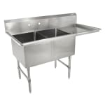 "John Boos 2B18244-1D18R 58"" 2 Compartment Sink w/ 18""L x 24""W Bowl, 14"" Deep"