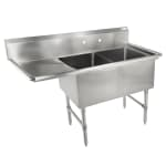 "John Boos 2B244-1D24L 76"" 2-Compartment Sink w/ 24""L x 24""W Bowl, 14"" Deep"