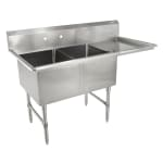 "John Boos 2B244-1D24R 76"" 2 Compartment Sink w/ 24""L x 24""W Bowl, 14"" Deep"