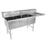 "John Boos 3B16204-1D18R 70"" 3-Compartment Sink w/ 16""L x 20""W Bowl, 14"" Deep"