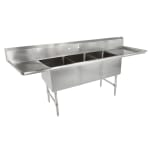 "John Boos 3B18244-2D24 105"" 3-Compartment Sink w/ 18""L x 24""W Bowl, 14"" Deep"