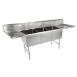 "John Boos 3B20304-2D24 111"" 3 Compartment Sink w/ 20""L x 30""W Bowl, 14"" Deep"