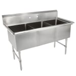"John Boos 3B244 77"" 3-Compartment Sink w/ 24""L x 24""W Bowl, 14"" Deep"