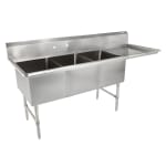 "John Boos 3B244-1D24R 100"" 3-Compartment Sink w/ 24""L x 24""W Bowl, 14"" Deep"