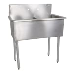 "John Boos B2S8-1821-12 36"" 2-Compartment Sink w/ 18""L x 21""W Bowl, 12"" Deep"