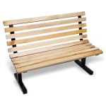 "John Boos CPB96-M Convenience Park Bench With Back, Slatted, Steel Tube Frame, 96"" Maple"
