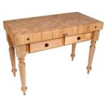 """John Boos CUCR05 Cucina Rustica Table, 4"""" Thick, End Grain Maple, 48 x 24"""" 416-CUCR05SHF"""""""
