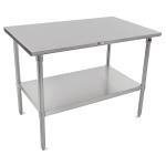 "John Boos CUCTA08 48"" 16-ga Work Table w/ Undershelf & 300-Series Stainless Flat Top"