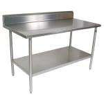 "John Boos CUCTA20 60"" 16-ga Work Table w/ Undershelf & 300-Series Stainless Flat Top"