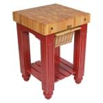 """John Boos CU-GB25-BN 25"""" Gathering Block Table, Hard Maple Top w/ Barn Red Base"""
