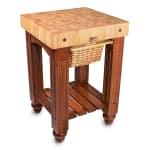 "John Boos CU-GB25-CR 25"" Gathering Block Table, Hard Maple Top w/ Warm Cherry Stain Base"