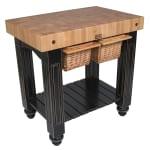 """John Boos CU-GB3624-BK 36"""" Gathering Block Table II, Hard Maple Top w/ Caviar Black Base"""