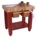 """John Boos CU-GB3624-BN 36"""" Gathering Block Table II, Hard Maple Top w/ Barn Red Base"""