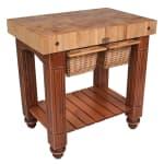 """John Boos CU-GB3624 36"""" Gathering Block Table II, Hard Maple Top w/ Warm Cherry Stain Base"""