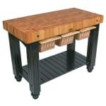 """John Boos CU-GB4824-BK 48"""" Gathering Block Table III, Hard Maple Top w/ Caviar Black Base"""