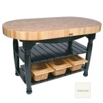 "John Boos CU-HAR60-AL 60"" Oval Butcher Block, Hard Maple Top w/ Alabaster Base"