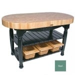"John Boos CU-HAR60-BS 60"" Oval Butcher Block, Hard Maple Top w/ Basil Green Base"