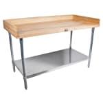 "John Boos DSS06 48"" Maple Top Bakers Table w/ 4"" Splash & Undershelf, 30""D"