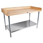 "John Boos DSS08 72"" Maple Top Bakers Table w/ 4"" Splash & Undershelf, 30""D"