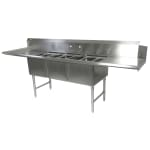 "John Boos DT3B244-2D24L 103"" Dishtable w/ (3) 24x24x14"" Bowls & (2) 24"" Drainboards, L to R"