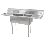 "John Boos E2S8-1620-12T18 68"" 2-Compartment Sink w/ 16""L x 20""W Bowl, 12"" Deep"