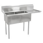 "John Boos E2S8-18-12R18 56.5"" 2 Compartment Sink w/ 18""L x 18""W Bowl, 12"" Deep"