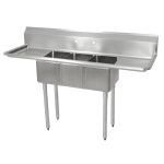 "John Boos E3S8-1014-10T15 60"" 3-Compartment Sink w/ 10""L x 14""W Bowl, 10"" Deep"