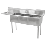 "John Boos E3S8-18-12L18 74.5"" 3-Compartment Sink w/ 18""L x 18""W Bowl, 12"" Deep"