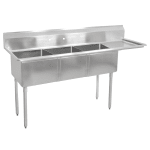 "John Boos E3S8-18-12R18 74.5"" 3 Compartment Sink w/ 18""L x 18""W Bowl, 12"" Deep"