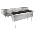 "John Boos E3S8-24-14L24 98.5"" 3 Compartment Sink w/ 24""L x 24""W Bowl, 14"" Deep"