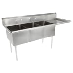 "John Boos E3S8-24-14R24 98.5"" 3-Compartment Sink w/ 24""L x 24""W Bowl, 14"" Deep"