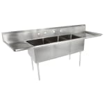 "John Boos E3S8-24-14T24 120"" 3-Compartment Sink w/ 24""L x 24""W Bowl, 14"" Deep"