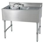 """John Boos EUB2S36SL-1RD 36"""" 2-Compartment Sink w/ 10""""L x 14""""W Bowl, 10"""" Deep"""