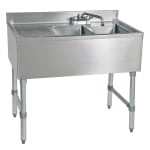 "John Boos EUB2S48SL-1LD 48"" 2-Compartment Sink w/ 10""L x 14""W Bowl, 10"" Deep"