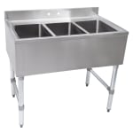 "John Boos EUB3S40SL 40"" 3 Compartment Sink w/ 10""L x 14""W Bowl, 10"" Deep"