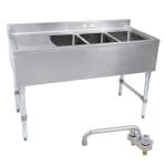 "John Boos EUB3S60-1LD 60"" 3-Compartment Sink w/ 10""L x 14""W Bowl, 10"" Deep"