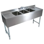 "John Boos EUB3S84SL-2D 84"" 3-Compartment Sink w/ 10""L x 14""W Bowl, 10"" Deep"